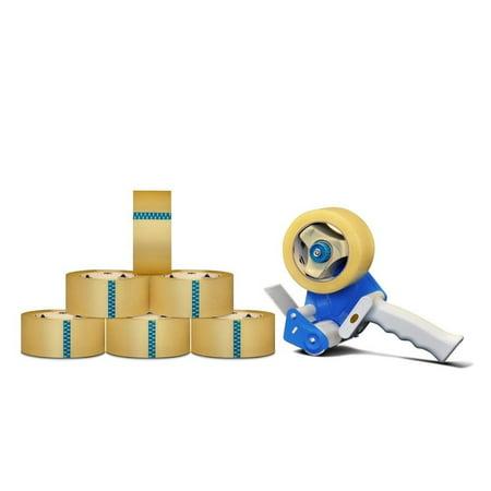Packagingsuppliesbymail 12 Rolls 3-inch x 55 yards Clear Packing Tape 1.8 Mil + Free 3-inch Tape Gun Dispenser 12 Yard Tape Roll