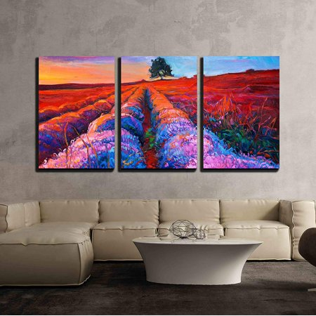 wall26 - 3 Piece Canvas Wall Art - Original Oil Painting of Lavender Fields on Canvas.Rich Golden Sunset Landscape - Modern Home Decor Stretched and Framed Ready to Hang - 24