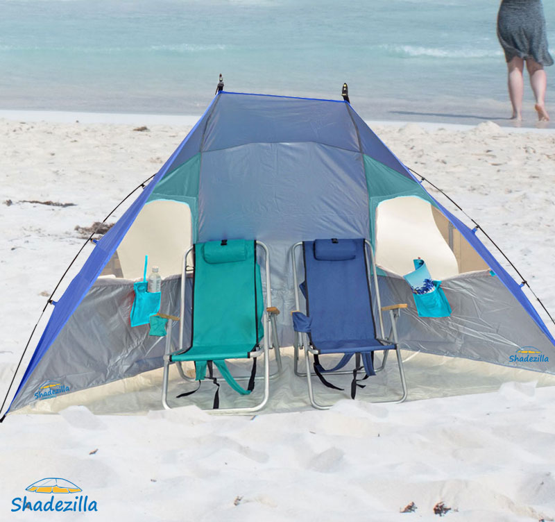 Deluxe 8.5ft Wide EasyUp Beach Cabana Tent Sun Shelter Sunshade, UPF100