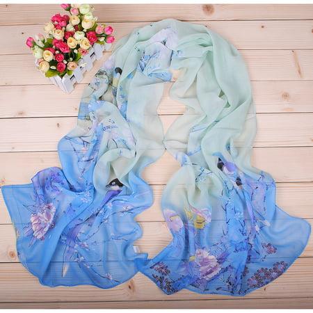 Chiffon Long Soft Scarf Magpie Spring Floral Women Wrap Cape Shawl (Blue Green)