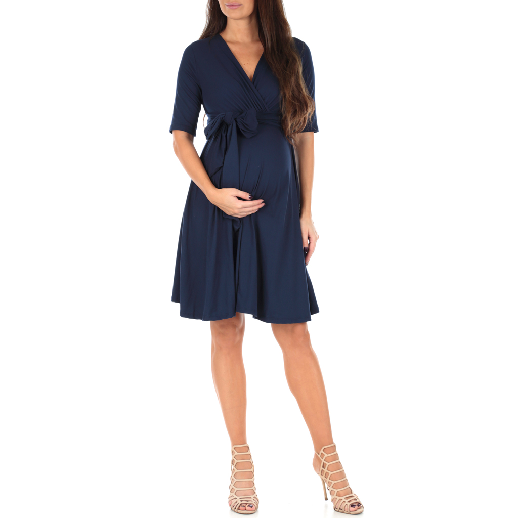 Womens Maternity Wrap Dress Midi Length with Waist Belt