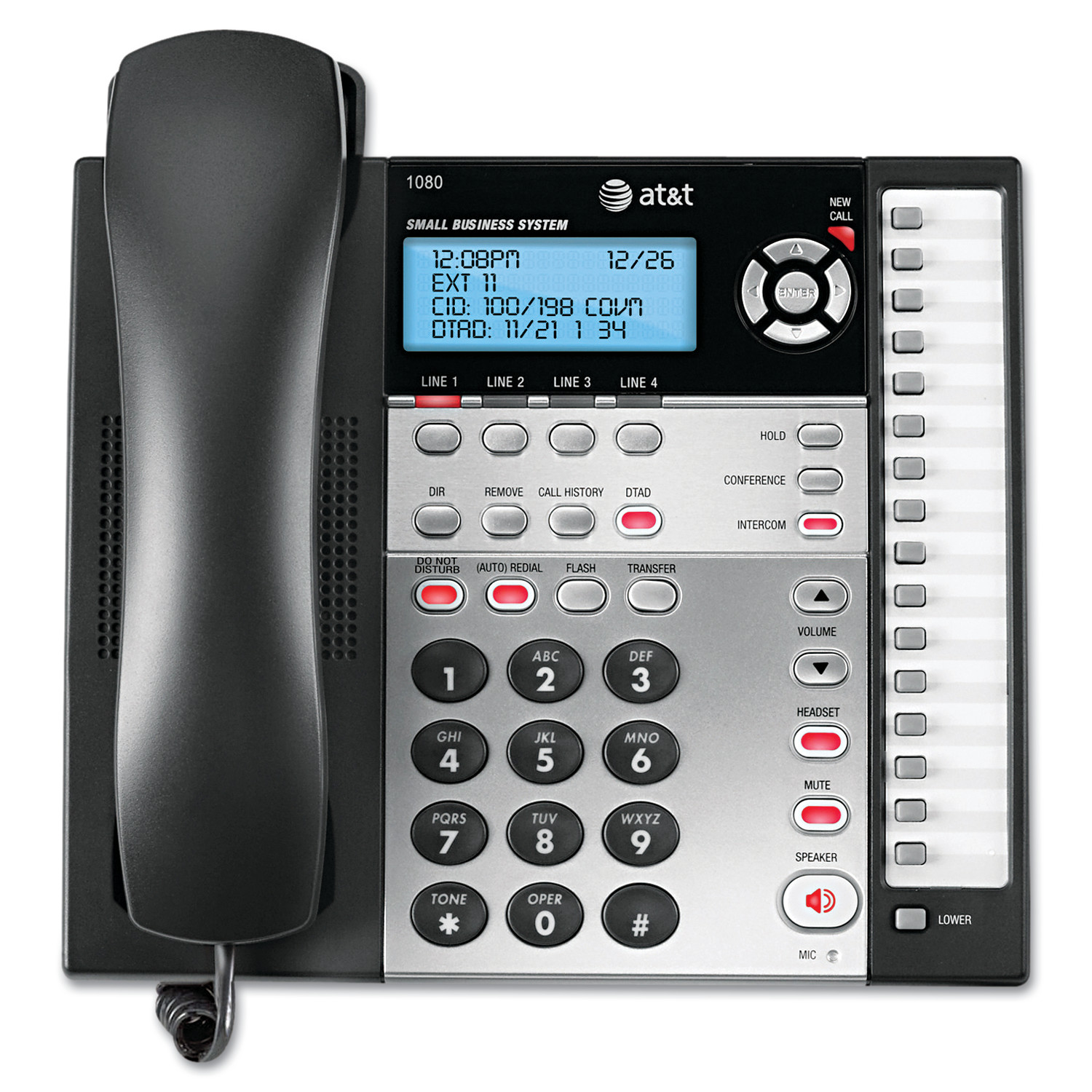 AT&T 1080 Corded Four-Line Expandable Telephone, Caller ID and Answering Machine