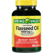 Spring Valley Cold-Pressed Flaxseed Oil Softgels, 1000 mg, 100 Ct