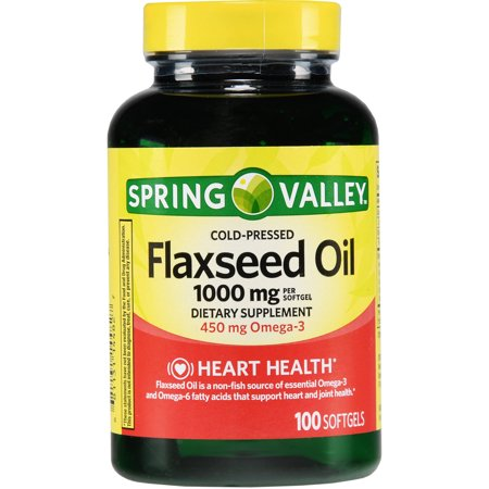 (2 Pack) Spring Valley Cold-Pressed Flaxseed Oil Softgels, 1000 mg, 100 Ct