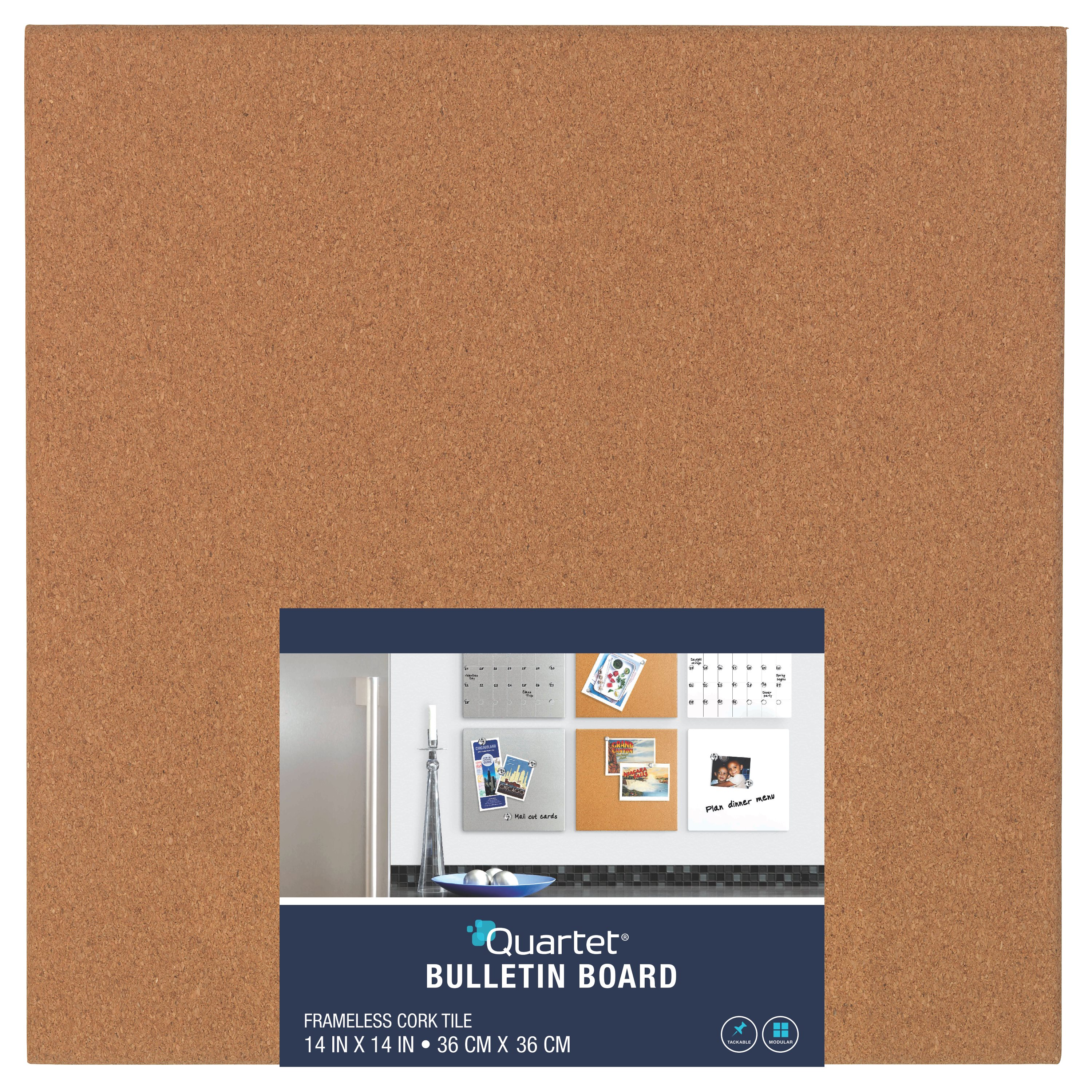 "quartet cork bulletin board tile, 14"" x 14"", frameless - walmart"