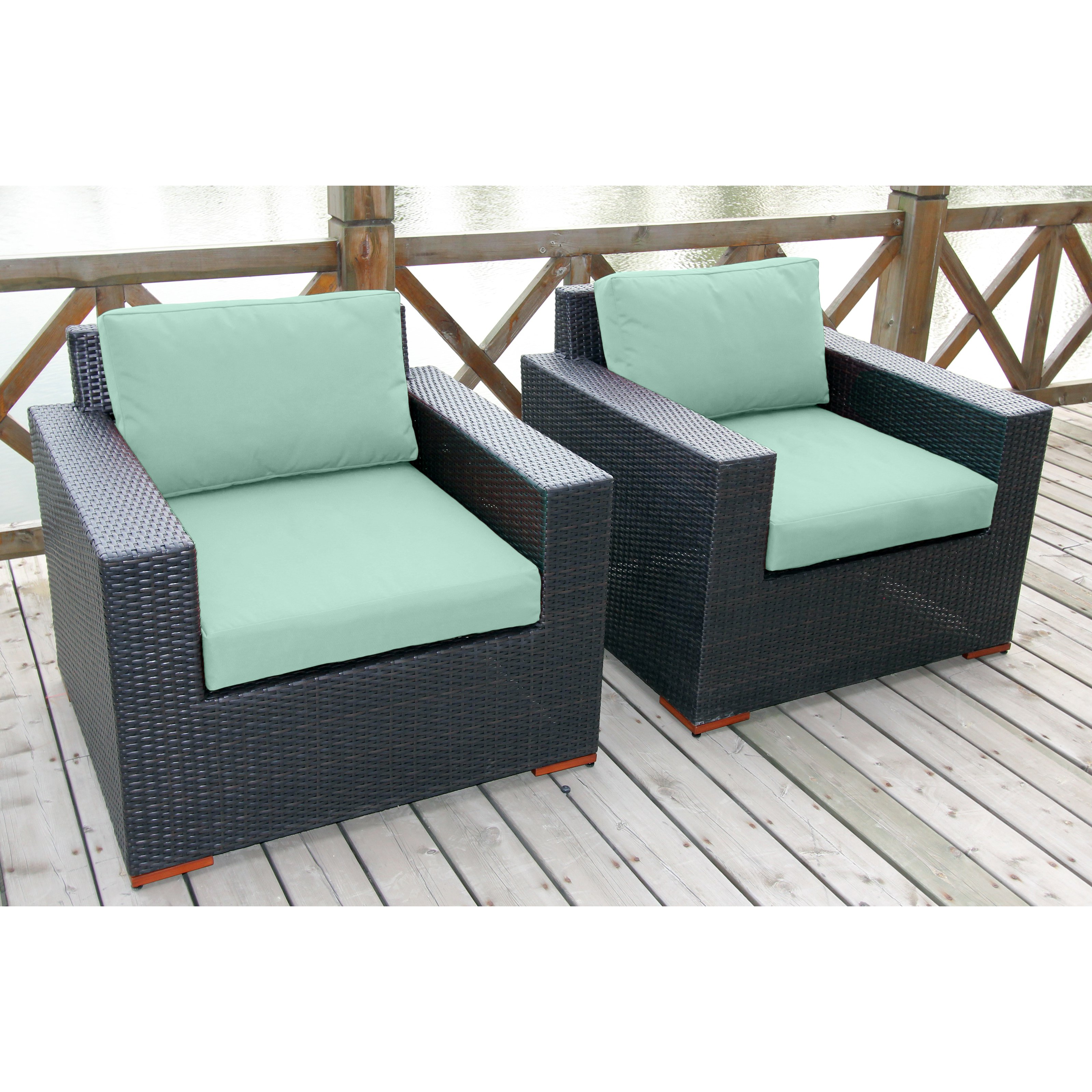 Talia Outdoor Deep Seating Club Chair with Ottoman Set of 2