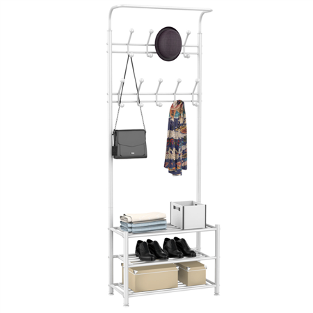 Metal 18 Hooks Coat Garment Rack with 3 Tier Shoes Rack Shelves Hall Tree Storage Organizer for Entryway, White
