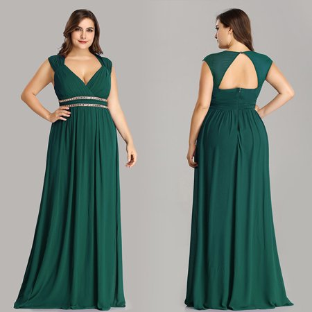 Ever-Pretty Women\'s Plus Size Long Evening Prom Gowns Holiday Party Dresses  for Women 08697 Dark Green US 18