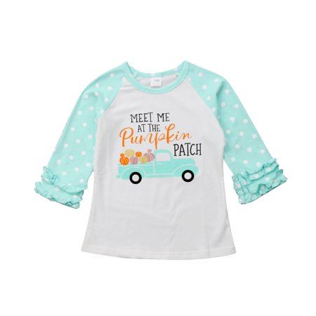 Little Baby Girls Long Sleeve Halloween T-Shirt Pumpkin Car Holiday Raglan Ruffle Tops (3-4T, Green)](Top Baby Games Halloween)