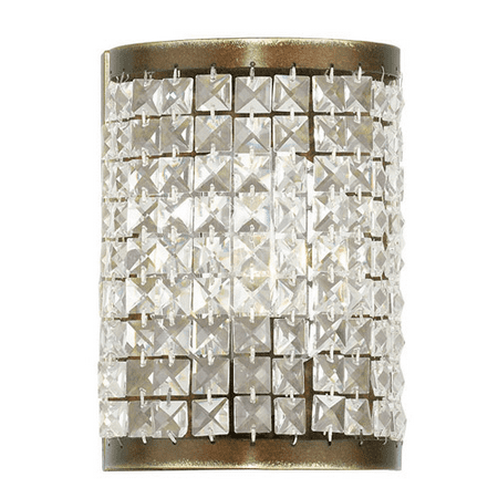 (Wall Sconces 1 Light With Clear Crystals Hand Painted Palacial Bronze size 9 in 60 Watts - World of Crystal)