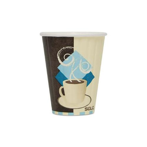 Duo Shield Insulated Paper Hot Cups, Paper, 8oz, Tuscan Design, 1000/Carton