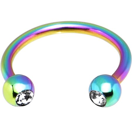 Anodized Barbell - Rainbow Anodized over Stainless Steel Horseshoe Circular Barbell 16 Gauge 3/8