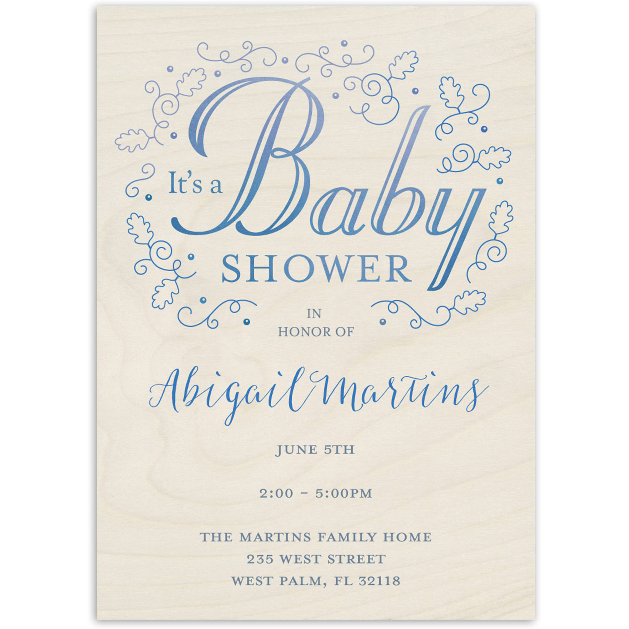 Rustic Filigree Baby Invitation