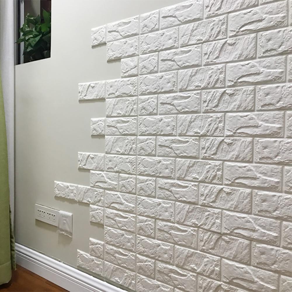 "30"" x 27"" White Brick 3D Wall Panels Peel and Stick ..."