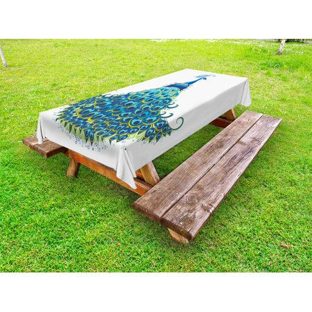 Peacock Tablecloth (Peacock Outdoor Tablecloth, Peacock Illustration Floral Classical Curvy Artful Design Tropics Wildlife Theme, Decorative Washable Fabric Picnic Table Cloth, 58 X 84 Inches,Blue Yellow, by)