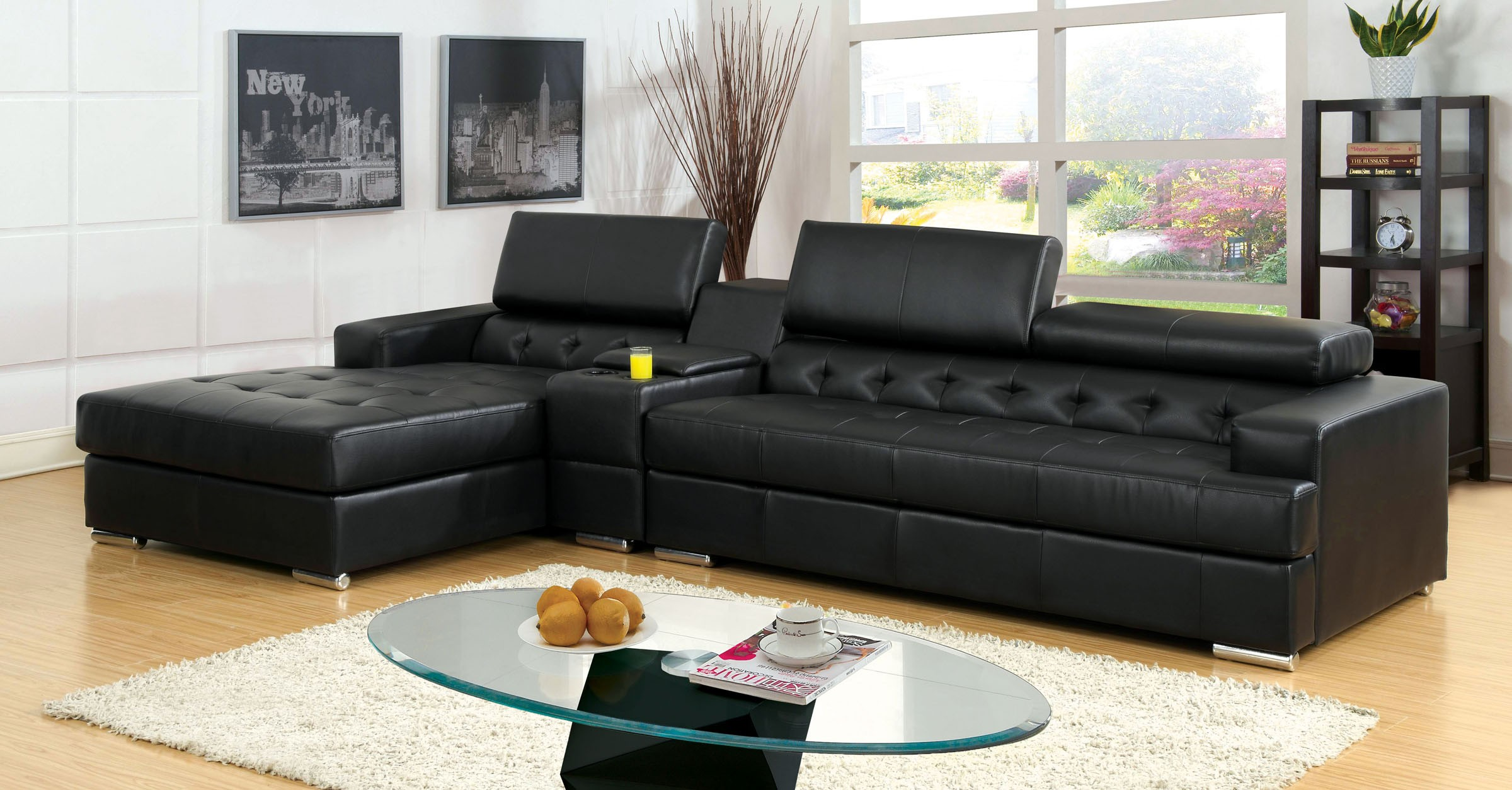 Modern Contemporary Sectional Sofa w/Console T-Cushion Tufted Black Bonded  Leather Living Room Furniture - Walmart.com