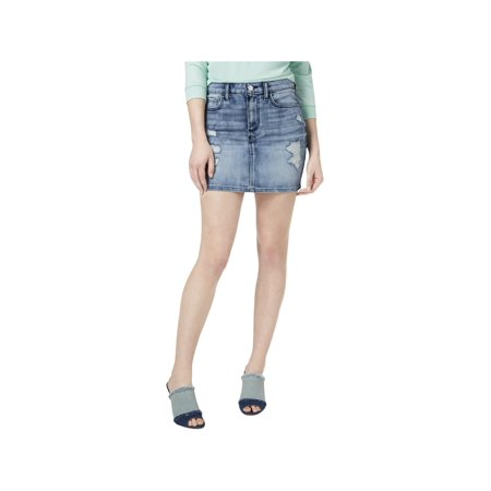 Guess Womens Bodycon Distressed Mini Denim Skirt Blue XS ()