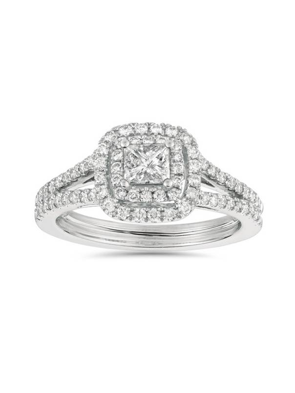 1ct Princess Cut Diamond Double Halo Engagement Ring 14K White Gold by Pompeii3