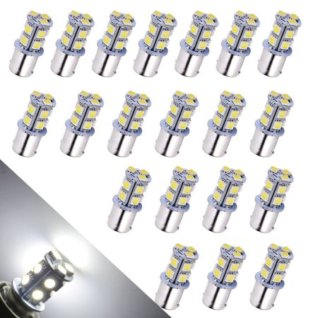 LED Car Lights Bulb 1156 BA15S 13-SMD 5050 Car RV Backup Reverse Light Bulbs 1141 1073 1093 1129 DC 12V White 6000K (Pack of 20) 1156 Led 12v Bulb