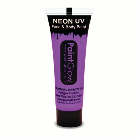 PaintGlow Neon UV Reactive Face & Body Paint 10ml Liquid Makeup, Violet](Uv Light Body Paint)