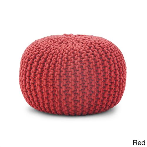 BeanSack Rope Knit 20-inch Pouf Ottoman Red