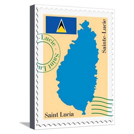 Stamp with Map and Flag of Saint Lucia Stretched Canvas Print Wall Art By Perysty](Saint Lucia Day)