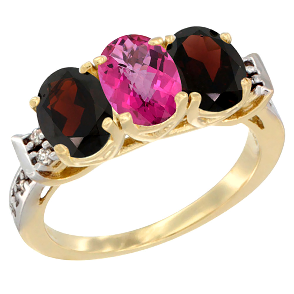 10K Yellow Gold Natural Pink Topaz & Garnet Sides Ring 3-Stone Oval 7x5 mm Diamond Accent, sizes 5 10 by WorldJewels