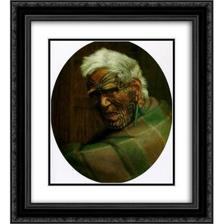 104 Matt - Charles Goldie 2x Matted 20x24 Black Ornate Framed Art Print 'A centenarian, Aperahama, aged 104'