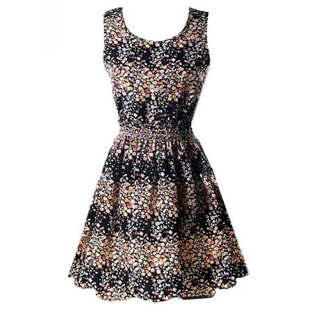 Plaid And Floral Dress - Nicesee Fashion Women Sleeveless Retro Short Sundress Floral Plaid Stripe Dress