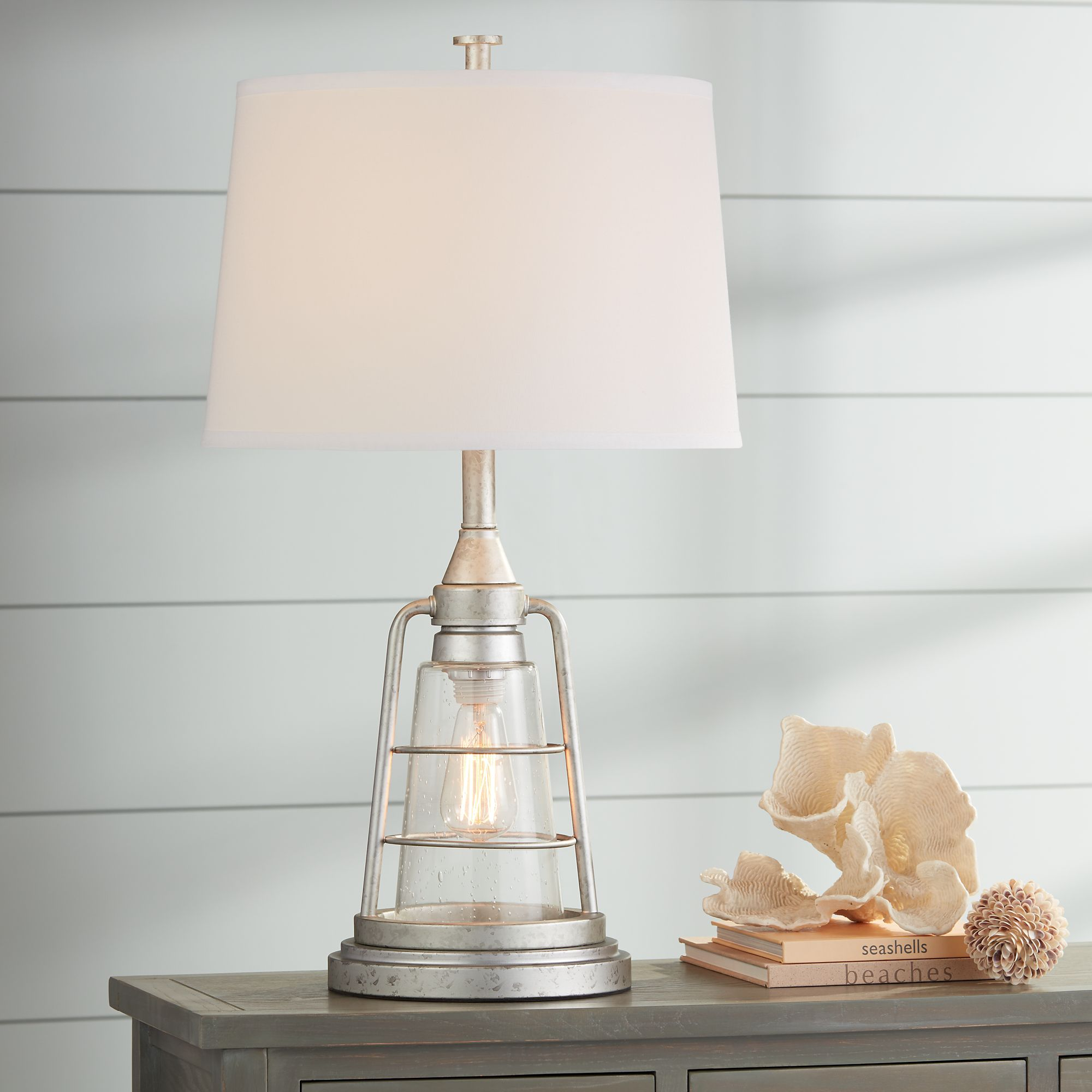 Franklin Iron Works Nautical Table Lamp With Nightlight Led Edison