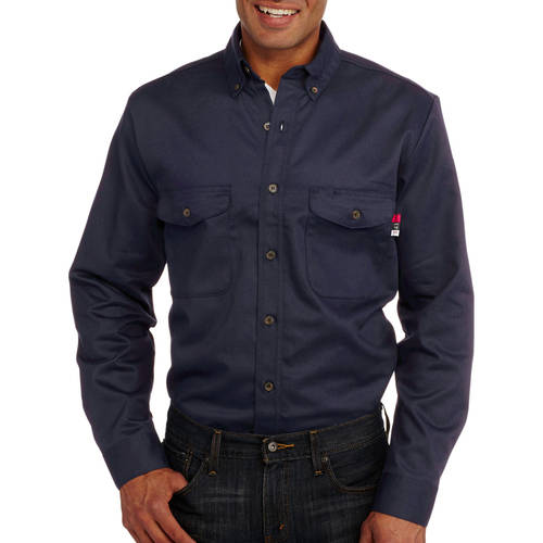 Walls 56390NA9 FR Collared Shirt,L,Navy G4331516
