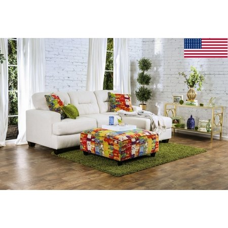 Sectional Ivory Contemporary Reversible Chaise Sofa