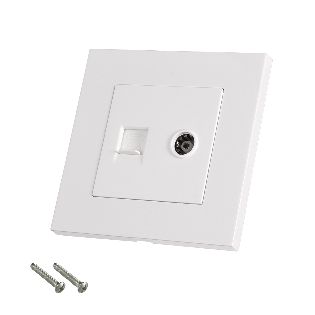 RJ11 Telephone TV Aerial Double Ports Socket Wall Plate Panel 86 Type - image 3 of 3