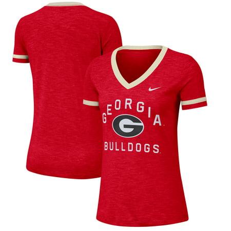 Georgia Bulldogs Nike Women's Performance Cotton Slub Retro Fan V-Neck T-Shirt - Heathered Red (Nike Retro)