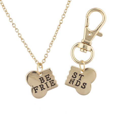 Lux Accessories Gold Tone Dog Bone Best Friends Necklace and Keychain Set
