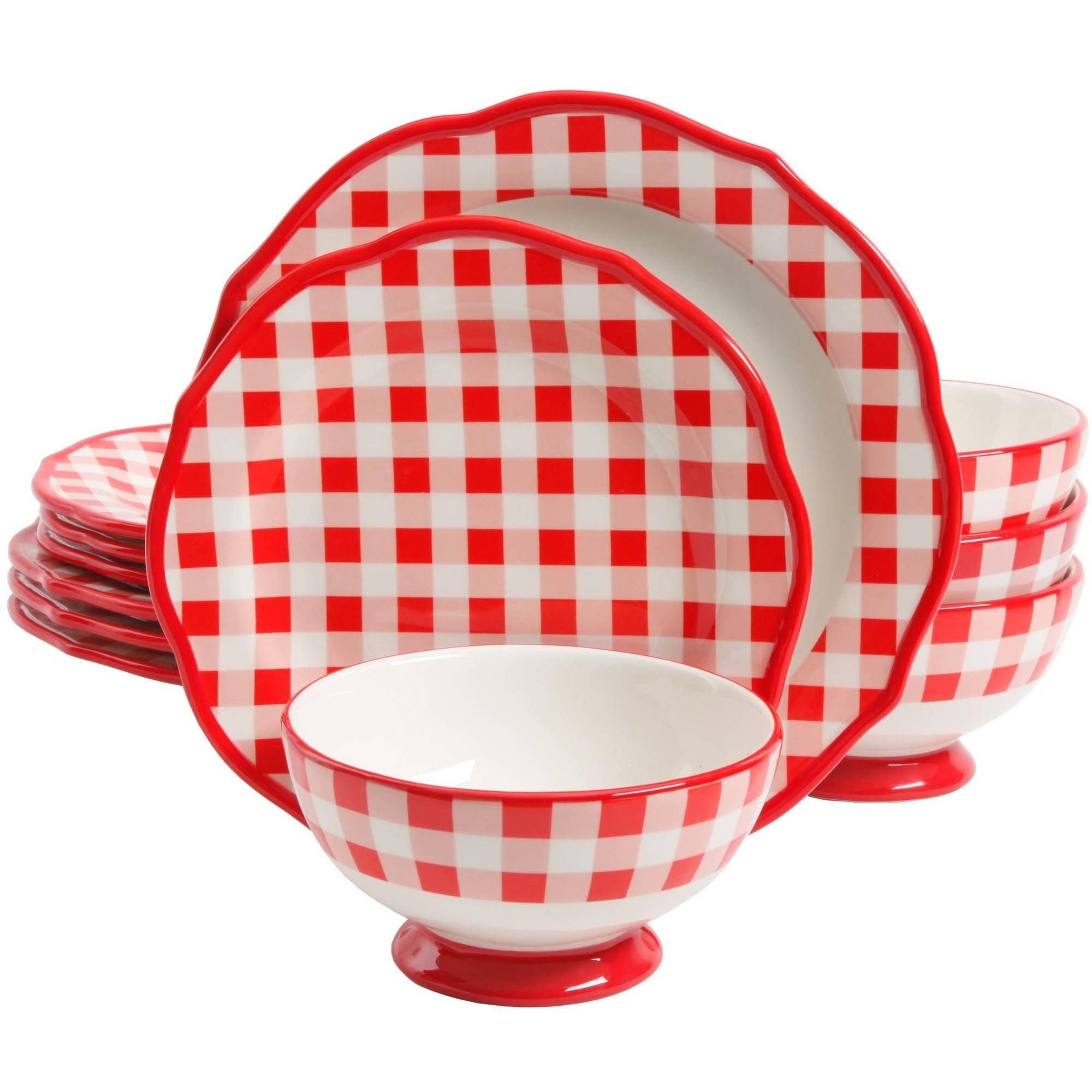 Pioneer Woman Red White Gingham Check Dinnerware Set Plates Bowls 12 pc  sc 1 st  eBay & Pioneer Woman Red White Gingham Check Dinnerware Set Plates Bowls 12 ...