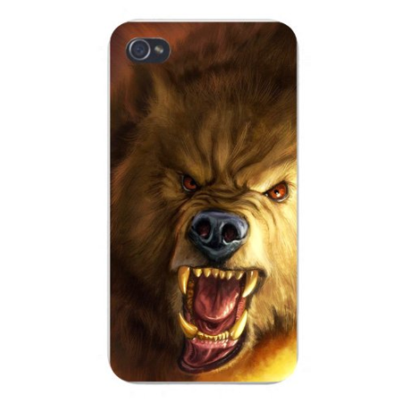 Apple Iphone Custom Case 4 4s Plastic Snap on - Scary Wolf Growling Fangs & - Wolf Fangs