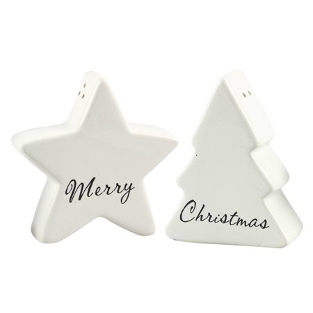 Merry Christmas White Shaped Star and Tree Salt and Pepper Shaker