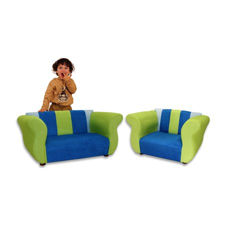 Excellent Keet Fancy Microsuede Childrens Sofa And Chair Set Multiple Colors Andrewgaddart Wooden Chair Designs For Living Room Andrewgaddartcom