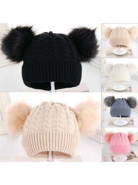 SUNSIOM Child Baby Boys Girls Beanie Hat Cap Winter Warm Double Pom Pom Bobble Knit