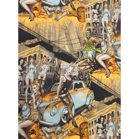 100% COTTON FABRIC BY ALEXANDER HENRY / SKULLDUGGERY ZOMBIE APOCALYPSE BRIGHT / SOLD BY THE YARD](Alexander Henry Retro Halloween Fabric)