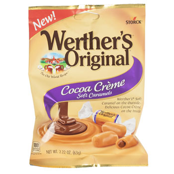 Candy Cocoa Creme Soft Caramels Werther's Original 2.22 Oz Peg, Case Pack Of 12
