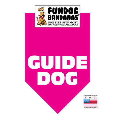 Fun Dog Bandana - Guide Dog - One Size Fits Most for Med to Lg Dogs, hot pink pet scarf
