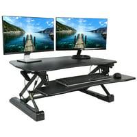 vivo deluxe height adjustable standing tabletop desk monitor laptop riser platform sit to stand black (desk-v000db)