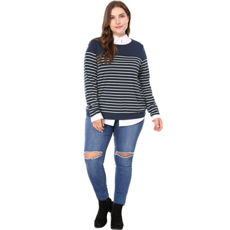 Women Plus Size Round Neck Long Sleeves Striped T-shirt Blue 3X - image 5 of 7