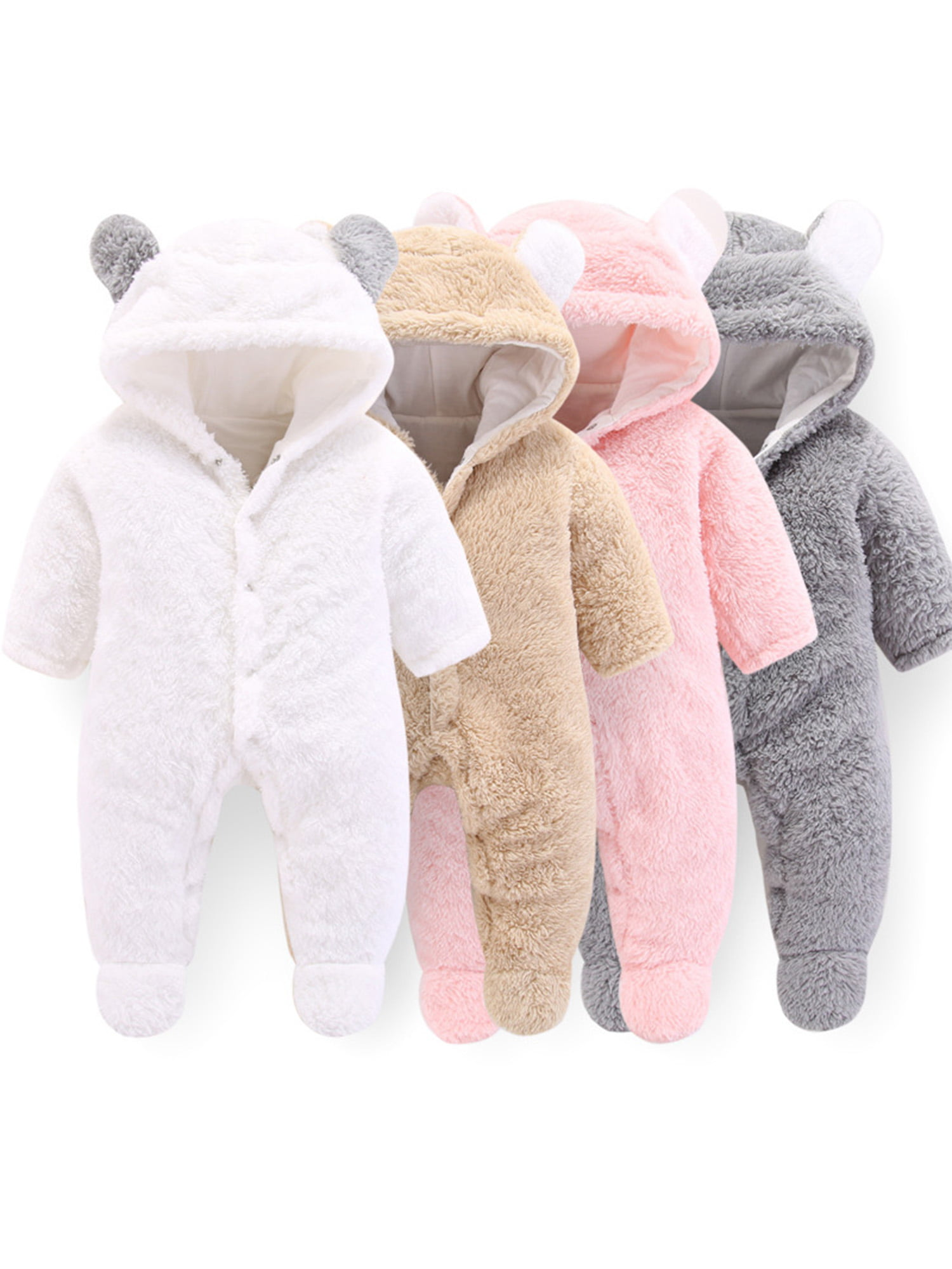 Baby Boy Girl Clothes NewBorn Winter Hooded Rompers Thick Cotton Outfit Jumpsuit
