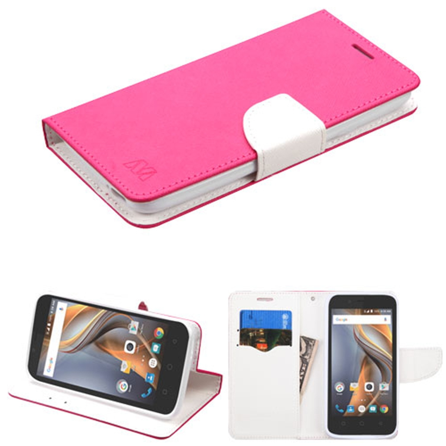 Insten Book-Style Leather Fabric Cover Case w/stand/card holder For Coolpad Catalyst - Hot Pink/White