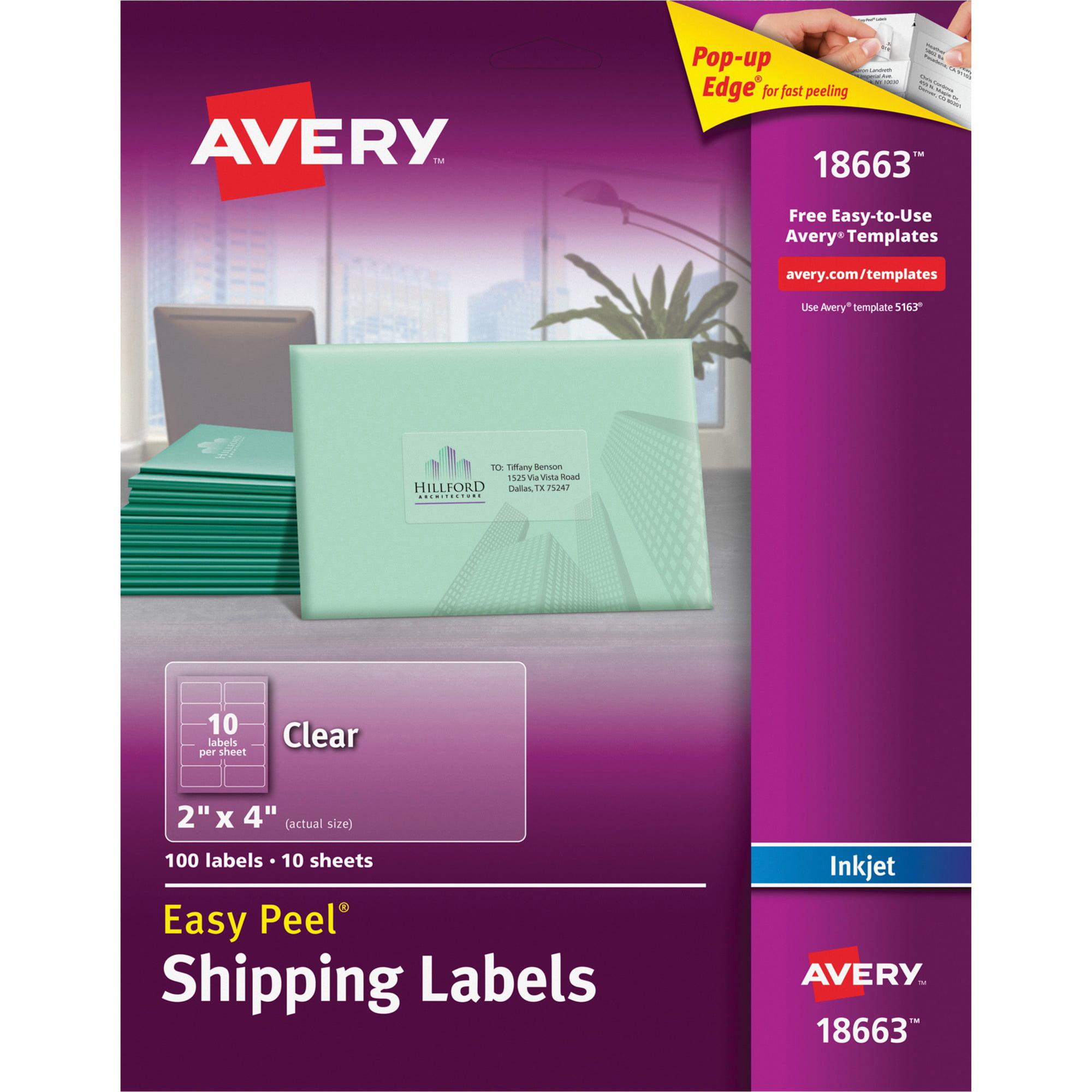 Avery Matte Clear Easy Peel Shipping Labels, Inkjet, 2 x 4, 100/Pack