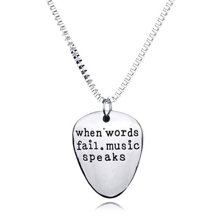 - Girl12Queen Men Women When Words Fail Music Speaks Guitar Pick Pendant Necklace Jewelry
