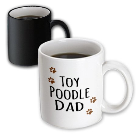 3dRose Toy Poodle Dog Dad - Doggie by breed - muddy brown paw prints - doggy lover - proud pet owner love - Magic Transforming Mug,